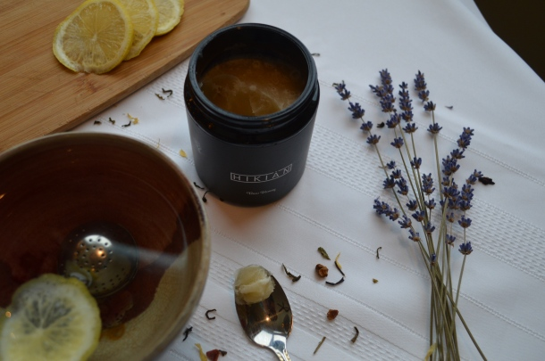 Hikian raw honey with lemon herb tea and lavender flowers